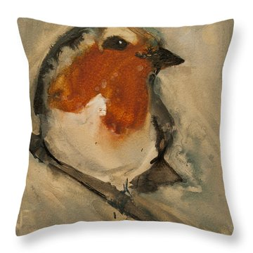 European Robin Throw Pillow