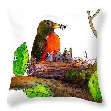 Robin Love Bug Throw Pillow