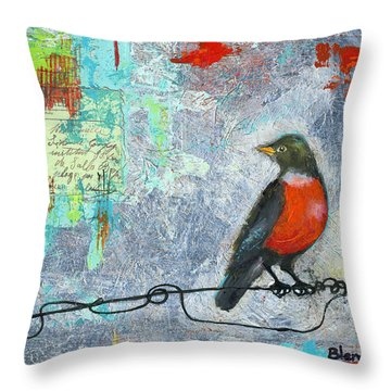 Robin Love Letter  Throw Pillow by Blenda Studio