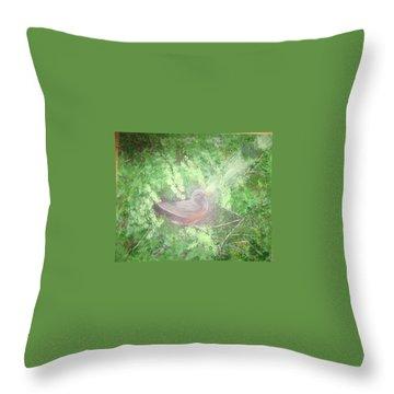 Robin On Her Nest Throw Pillow