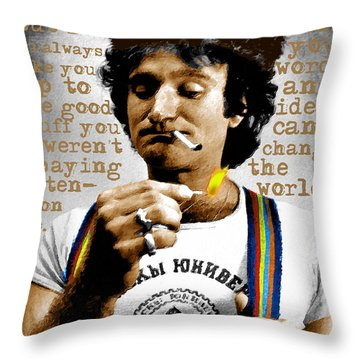 Robin Williams And Quotes 2 Throw Pillow