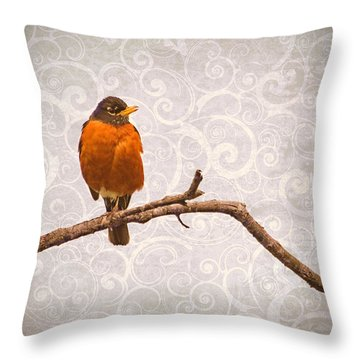 Throw Pillow featuring the photograph Robin With Damask Background by Peggy Collins
