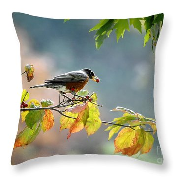 Throw Pillow featuring the photograph Robin With Red Berry by Nava Thompson