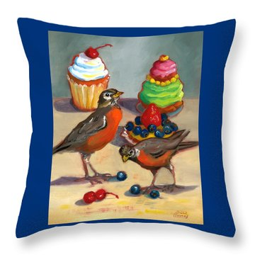 Robins And Desserts Throw Pillow