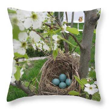 Throw Pillow featuring the photograph Robins Egg Nest by Margaret Newcomb
