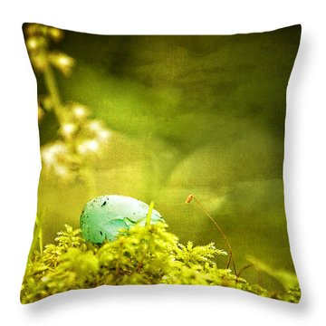 Throw Pillow featuring the photograph Robin's Egg On Moss by Peggy Collins