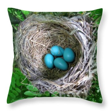 Throw Pillow featuring the photograph Robin's Eggs by Ramona Johnston