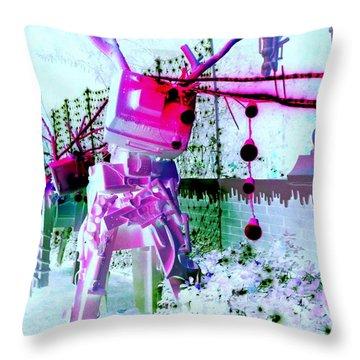 Robo Reindeer Throw Pillow by Randall Weidner