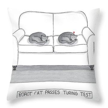 Robot Cat Passes Turing Test Throw Pillow