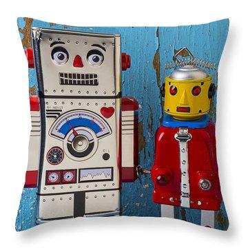 Robot Friends Throw Pillow by Garry Gay