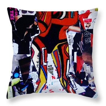 Throw Pillow featuring the painting Robot Girl by Tarra Louis-Charles