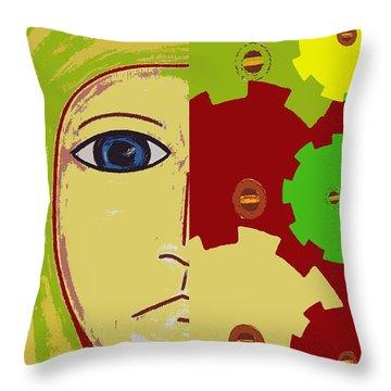 Robot Throw Pillow by Patrick J Murphy