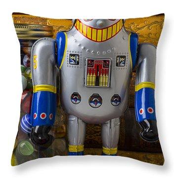Robot With Marbles And Books Throw Pillow by Garry Gay