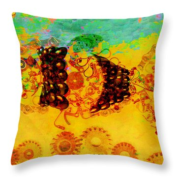 Robotic Fossil - Fish Throw Pillow by Fran Riley