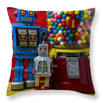 Robots And Bubblegum Machine Throw Pillow by Garry Gay