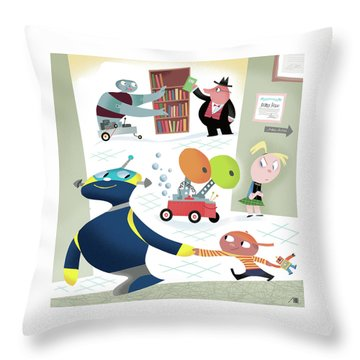 Robots And Children At School Throw Pillow