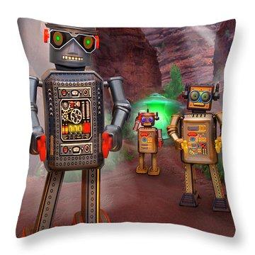 Robots With Attitudes 2 Throw Pillow by Mike McGlothlen