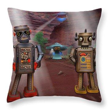 Robots With Attitudes  Throw Pillow by Mike McGlothlen
