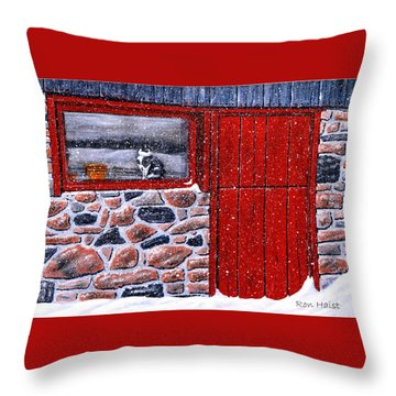 Throw Pillow featuring the painting Rob's Barn by Ron Haist