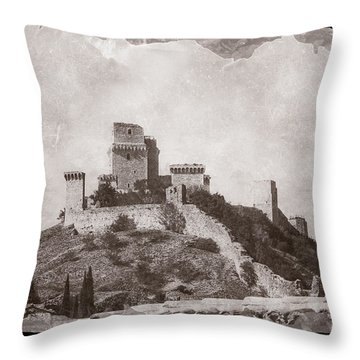 Rocca Maggiore Castle Throw Pillow
