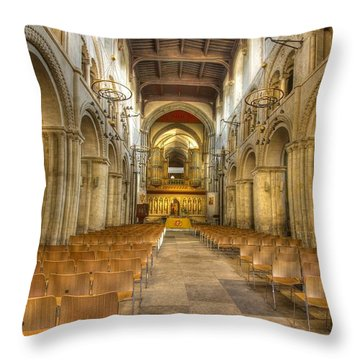 Rochester Castle Kent Hdr  Throw Pillow by David French
