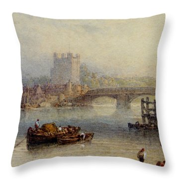 Rochester From The River Throw Pillow by Myles Birket Foster