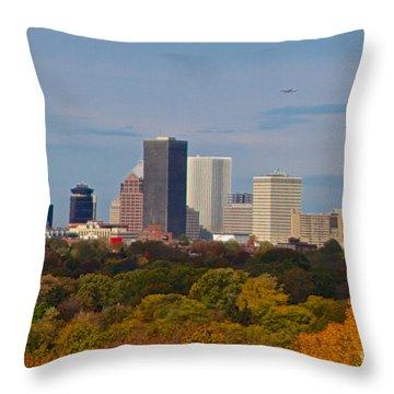 Rochester Skyline Throw Pillow by William Norton