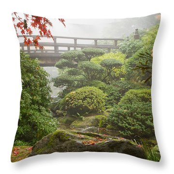 Throw Pillow featuring the photograph Rock And Bridge At Japanese Garden by JPLDesigns