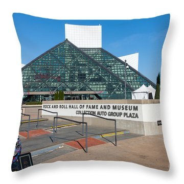Rock And Roll Hall Of Fame IIi Throw Pillow by Clarence Holmes