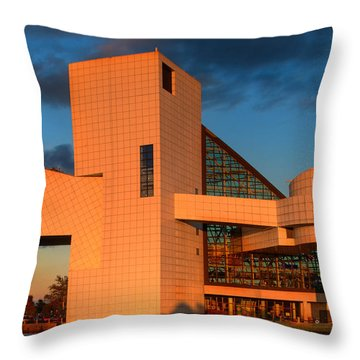 Rock And Roll Hall Of Fame Throw Pillow by Jerry Fornarotto