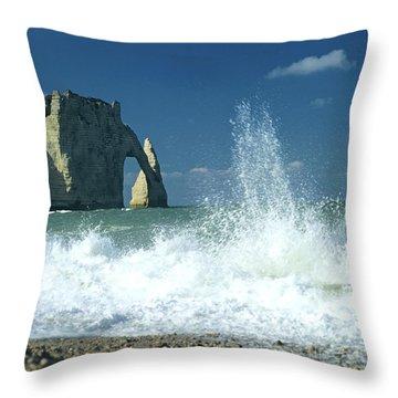 Rock Arch. Etretat. Seine-maritime. Normandy. France. Europe Throw Pillow by Bernard Jaubert