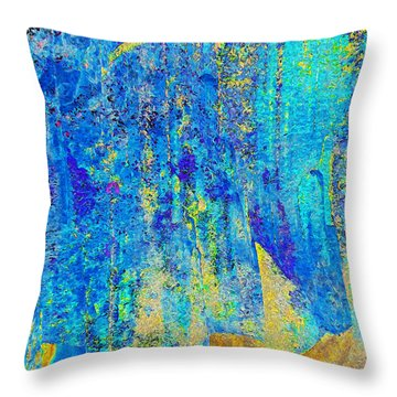 Rock Art Blue And Gold Throw Pillow