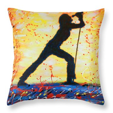 Rock Band Singer Abstract Art Throw Pillow