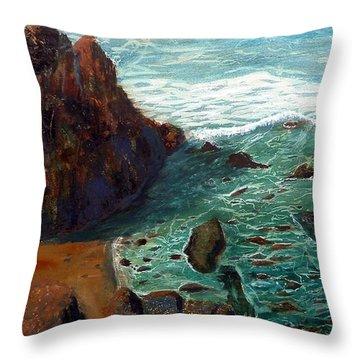 Rock Beach And Sea Throw Pillow