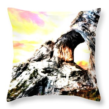 Throw Pillow featuring the painting Rock Cliff Sunset by Bruce Nutting