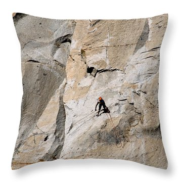 Rock Climber On El Capitan Throw Pillow by Mark Newman