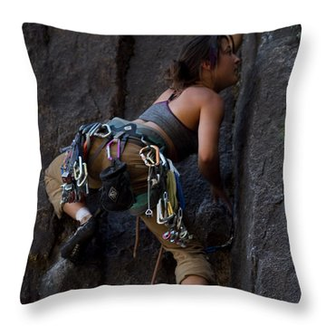 Rock Climbing Throw Pillow by Brian Williamson