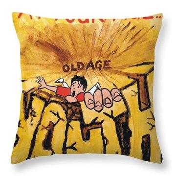 Rock Climbing Cartoon Throw Pillow