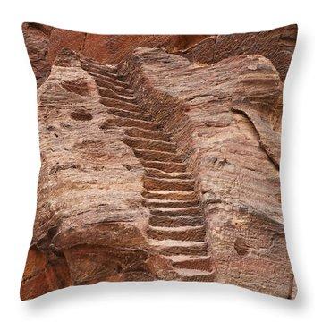 Rock Cut Stairway Of The Street Of Facades Petra Jordan Throw Pillow by Robert Preston