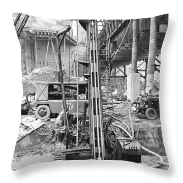 Rock Drill Wtc Throw Pillow