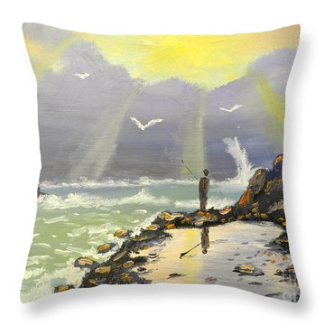 Throw Pillow featuring the painting Rock Fishing At Wombarra  by Pamela  Meredith