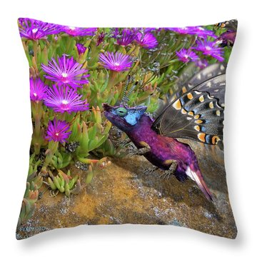 Rock Flower Birguana Fly Throw Pillow