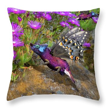 Rock Flower Birguana Fly Throw Pillow by Arthur Fix
