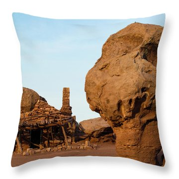 Rock Formations And Abandoned Building Throw Pillow