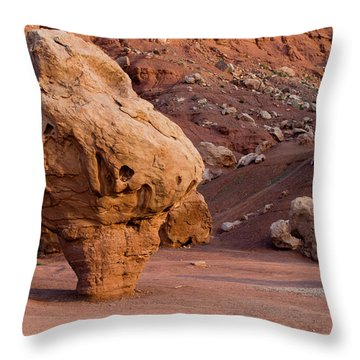 Rock Formations In A Desert, Vermilion Throw Pillow