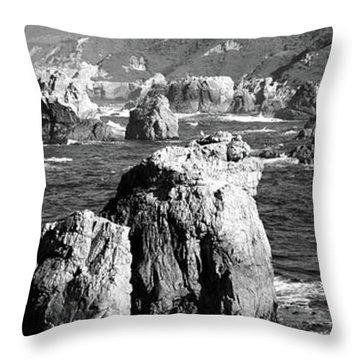 Rock Formations On The Beach, Big Sur Throw Pillow