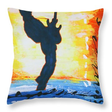 Rock Guitar Abstract Painting Throw Pillow by Bob Baker