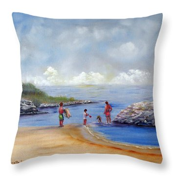 Rock Hall Beach Throw Pillow by Loretta Luglio