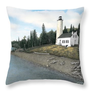Rock Harbor Lighthouse Throw Pillow by Darren Kopecky