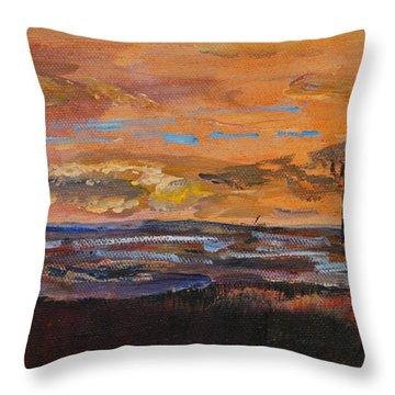 Rock Harbor Sunset Throw Pillow